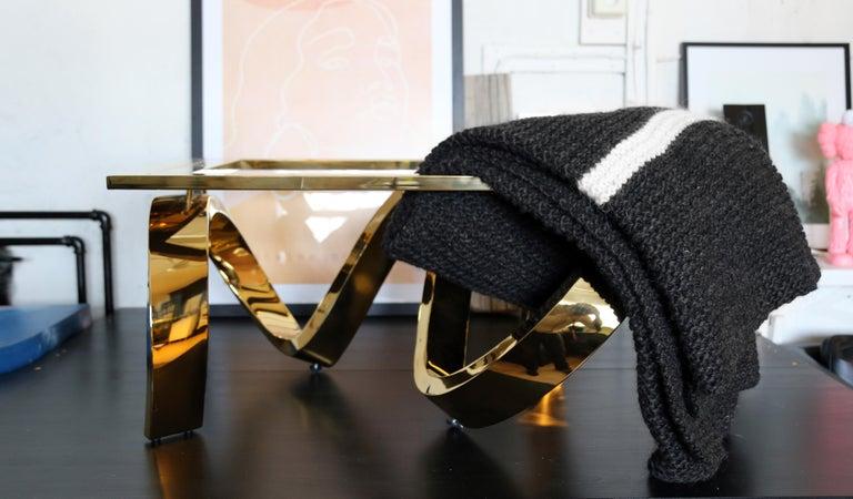 Scandinavian Modern Icelandic Pure New Wool Blanket Krafla Hand Knitted For Sale