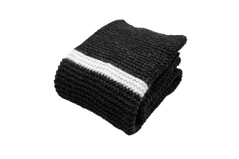 European Icelandic Pure New Wool Blanket Krafla Hand Knitted For Sale