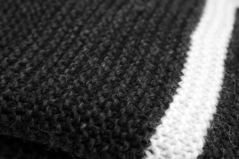 Contemporary Icelandic Pure New Wool Blanket Krafla Hand Knitted For Sale