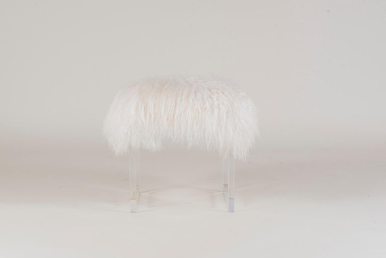 Contemporary Icelandic Sheepskin Lucite Bench For Sale