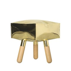 Icenine, 21st Century Stool in Natural Brass and Solid Wood Legs