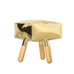 Icenine Wood and Brass Stool, Unique