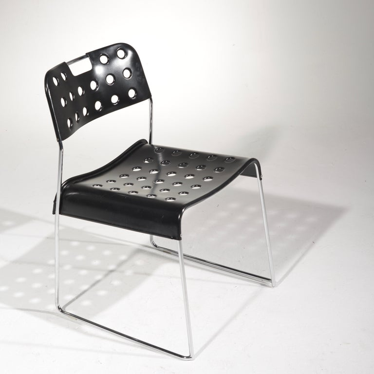 Mid-Century Modern ICF Stacking Chair in Black For Sale