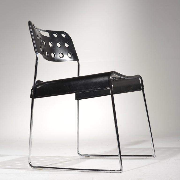 American ICF Stacking Chair in Black For Sale