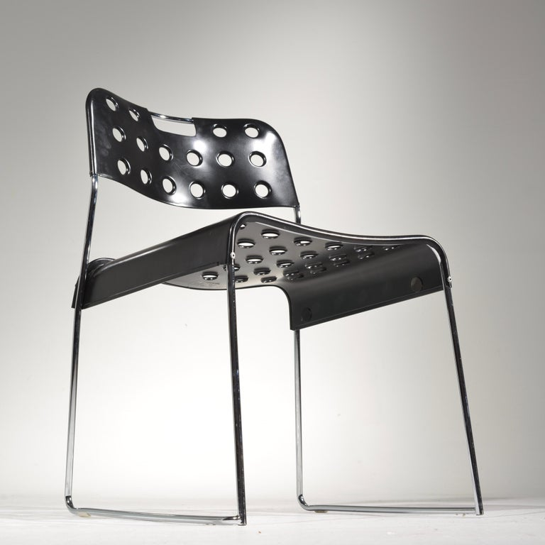 20th Century ICF Stacking Chair in Black For Sale