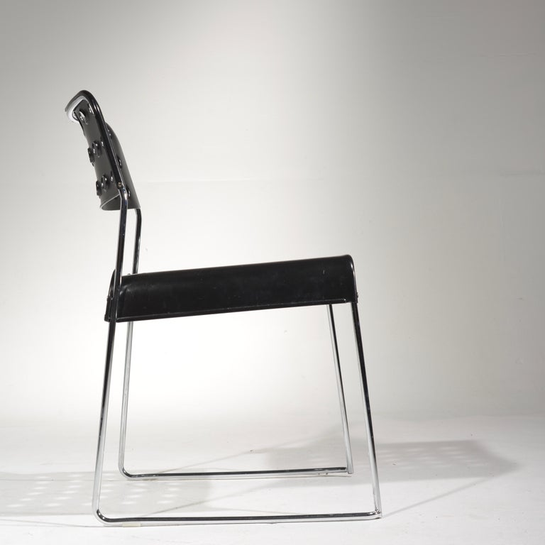 Chrome ICF Stacking Chair in Black For Sale