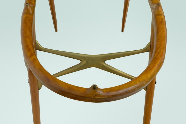 Italian Walnut and Brass Dining Table, Italy, style of Ico Parisi, circa 1955 For Sale 1
