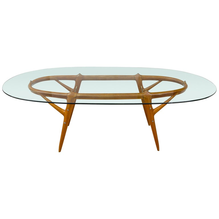 Italian Walnut and Brass Dining Table, Italy, style of Ico Parisi, circa 1955 For Sale