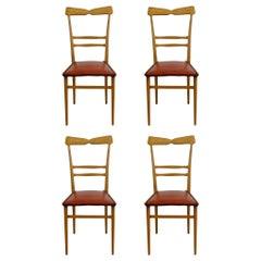 Ico Parisi and Luisa Parisi, Italian Mid-Century Set of 4 Dining Chair, 1950