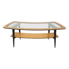 Ico Parisi Attributed Birch and Glass Boomerang Shaped Coffee Table, Italy 1950s