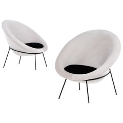 Pair of Egg Chairs by Ariberto Colombo in Velvet & Lacquered Metal, Italy 1950's