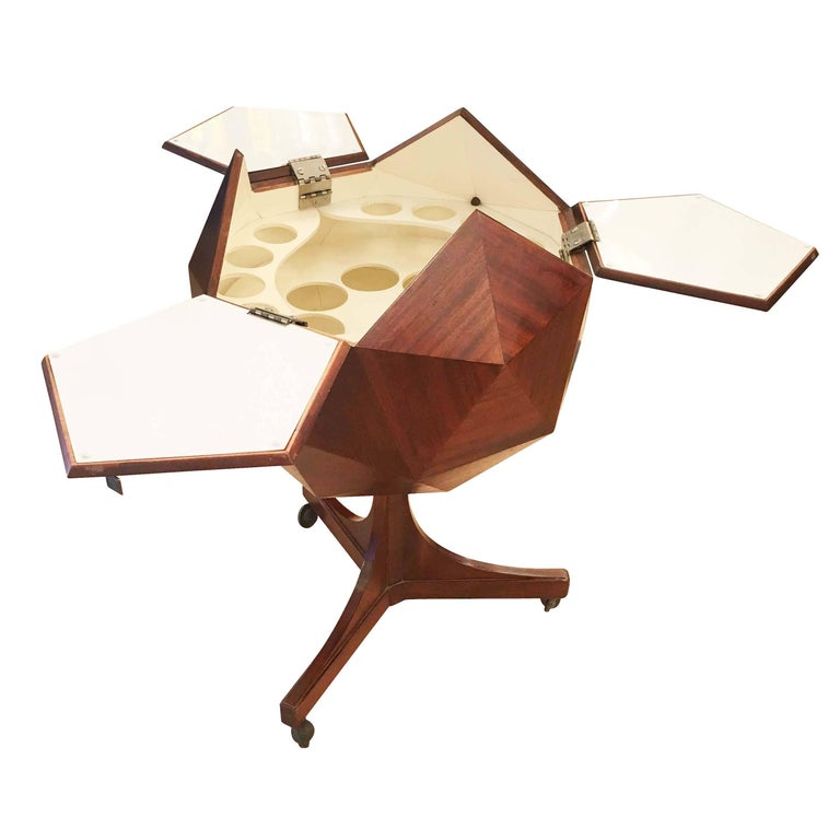Mid-Century Modern Ico Parisi Attributed Polygonal Bar Cart For Sale