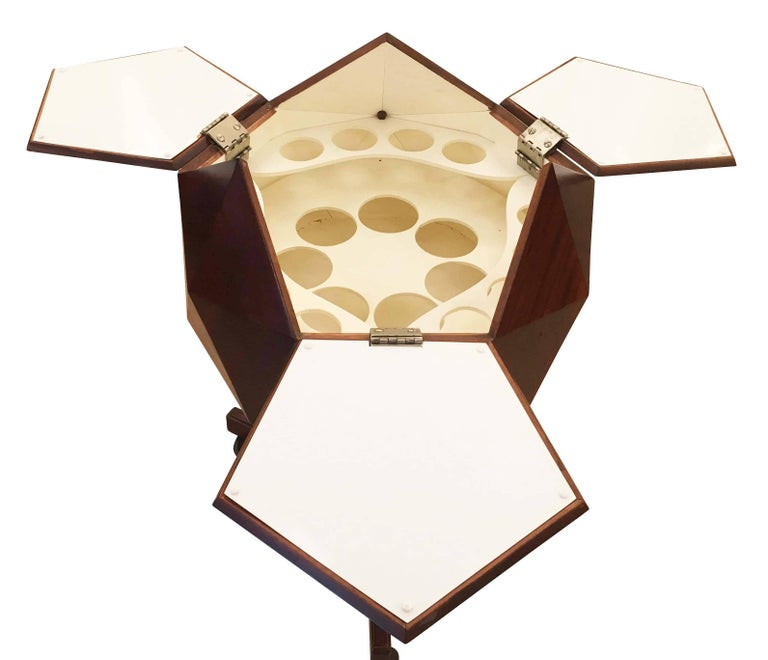 Mid-20th Century Ico Parisi Attributed Polygonal Bar Cart For Sale