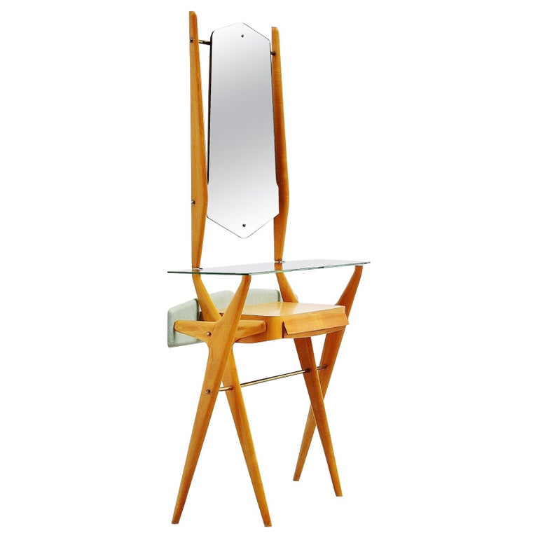 Ico Parisi Attributed Vanity Table in Beech, Italy, 1955 For Sale