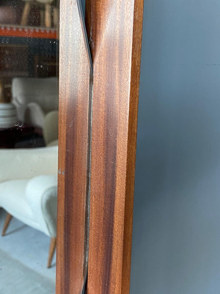 Mid-20th Century Ico Parisi 'Attribution', Wall Mirror, Walnut, Mirror Glass, Italy, 1950s For Sale