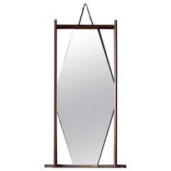 Ico Parisi 'Attribution', Wall Mirror, Walnut, Mirror Glass, Italy, 1950s