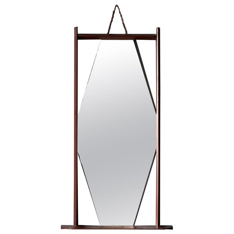 Ico Parisi 'Attribution', Wall Mirror, Walnut, Mirror Glass, Italy, 1950s For Sale