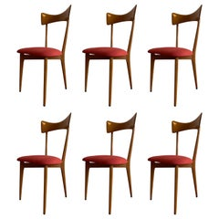 "Ico Parisi ""bow-tie"" Ariberto Colombo Cantu Dining Chairs, Set of 6"