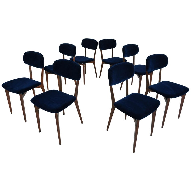 Ico Parisi, Cassina, Italy, 1955 Rare Set of Eight Chairs Mod. 691 For Sale