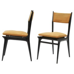 Ico Parisi Chairs Wood Brass, 1950, Italy