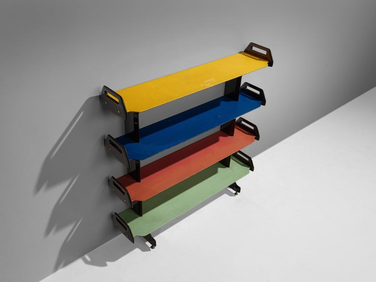 Italian Ico Parisi Colorful Bookcase Model '457' in Wood and Metal For Sale