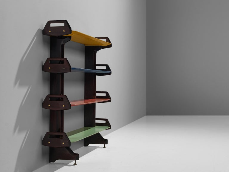 20th Century Ico Parisi Colorful Bookcase Model '457' in Wood and Metal For Sale