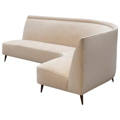 Ico Parisi Curved Cream Velvet Sofa, 1950s