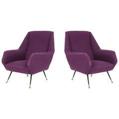 Ico Parisi Easy Chairs with Purple Upholstery