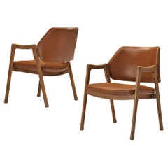 Ico Parisi for Cassina Pair of Armchairs Model '814' in Cognac Leather
