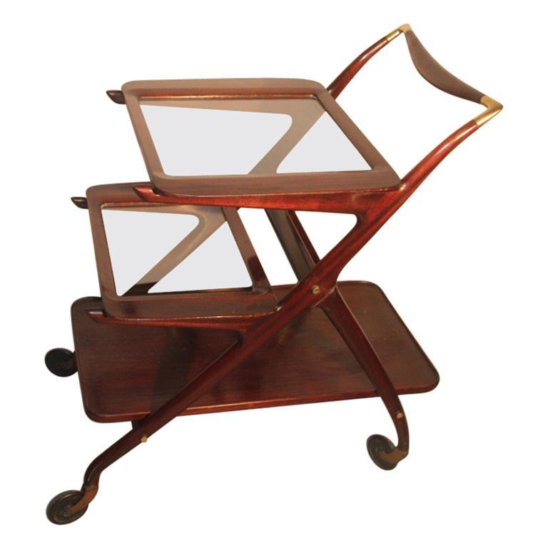 Ico Parisi for De Baggis Bar Trolley Mahogany Mid-Century Modern Italian Design