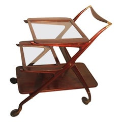Ico Parisi for De Baggis Bar Trolley Mahogany Mid-Century Modern Italian Design
