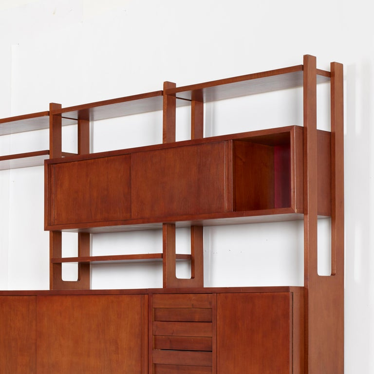 Ico Parisi for Fratelli Rizzi Custom Italian Walnut Library Wall Unit, 1958 In Good Condition For Sale In Brooklyn, NY