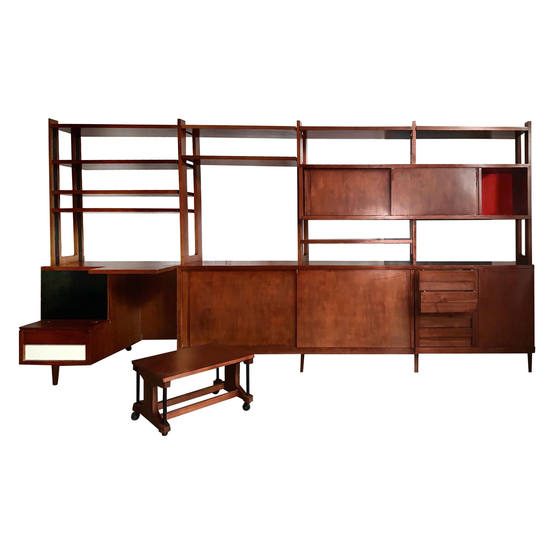 Ico Parisi Fratelli Rizzi Custom Italian Walnut Library Shelving Storage, 1958