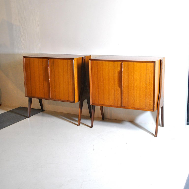 Italian Ico Parisi in the Style Set of Cases in Wood For Sale