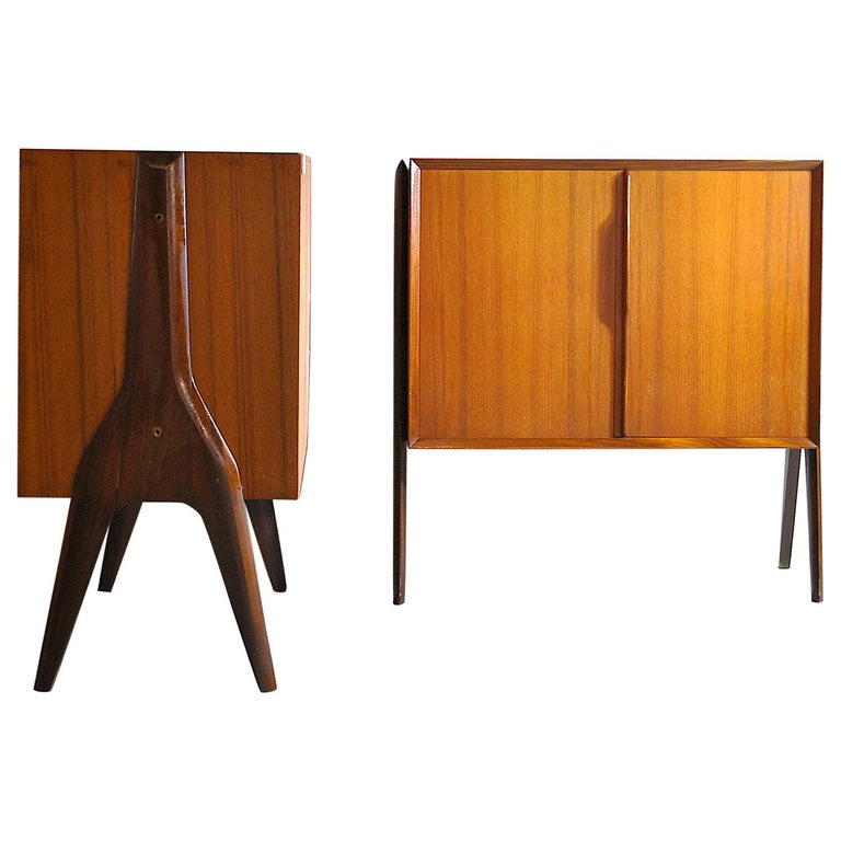 Ico Parisi in the Style Set of Cases in Wood For Sale