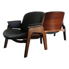 Ico Parisi Italian Dark Wood and Leatherette Armchairs for MIM Roma, 1960s