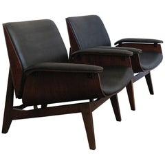 Ico Parisi Italian Midcentury Modern Dark Wood  Armchairs for Mim , 1950s