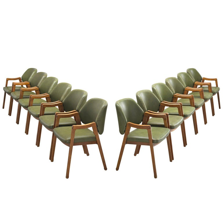 Ico Parisi Large Set of Olive Green Dining Chairs for Cassina For Sale