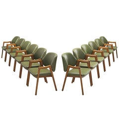 Ico Parisi Large Set of Olive Green Dining Chairs for Cassina