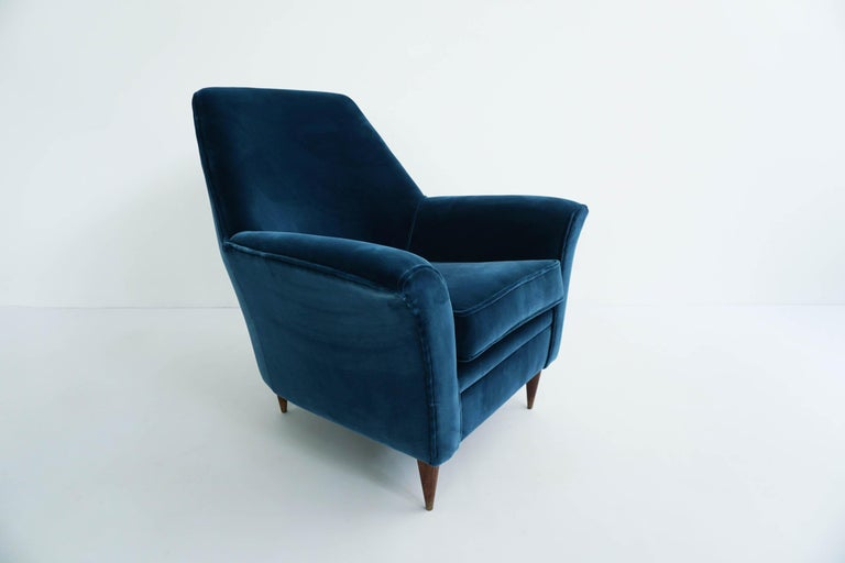 Italian Ico Parisi Lounge Chairs in Blue Lagoon Velvet For Sale