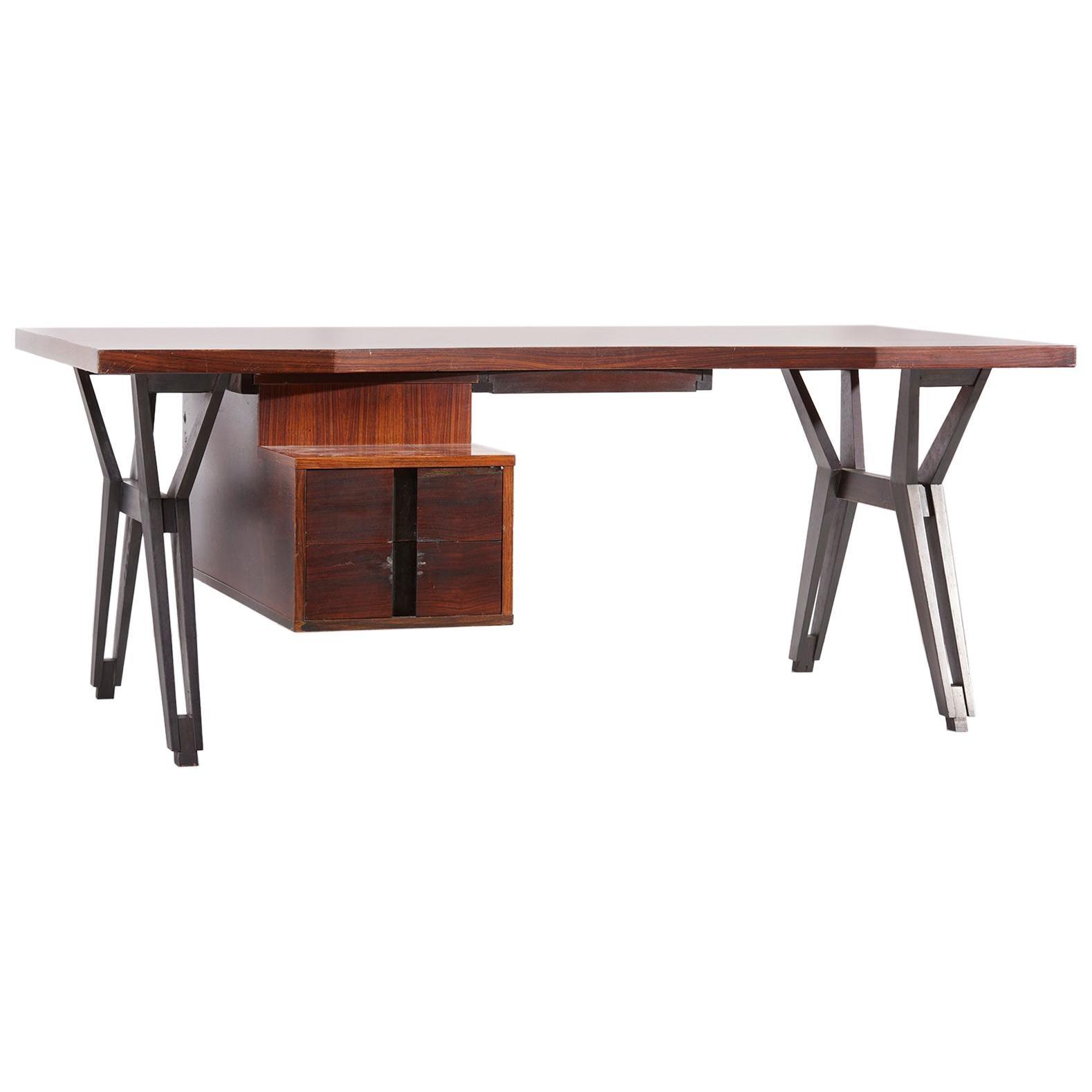 Ico Parisi Mahogany Executive Office Desk by MIM Italy, 1950s