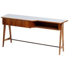 Ico Parisi Mid-Century Modern Rectangular Walnut Mahogany Wood Desk, Italy, 1950