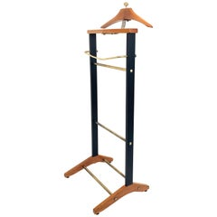 Ico Parisi Midcentury Beechwood and Brass Suit Rack for Fratelli Reguitti 1960s