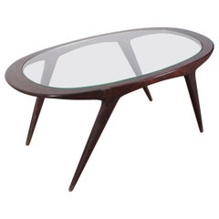 Ico Parisi Midcentury Dark Wood and Glass Oval Coffee Table, Italy, 1960s