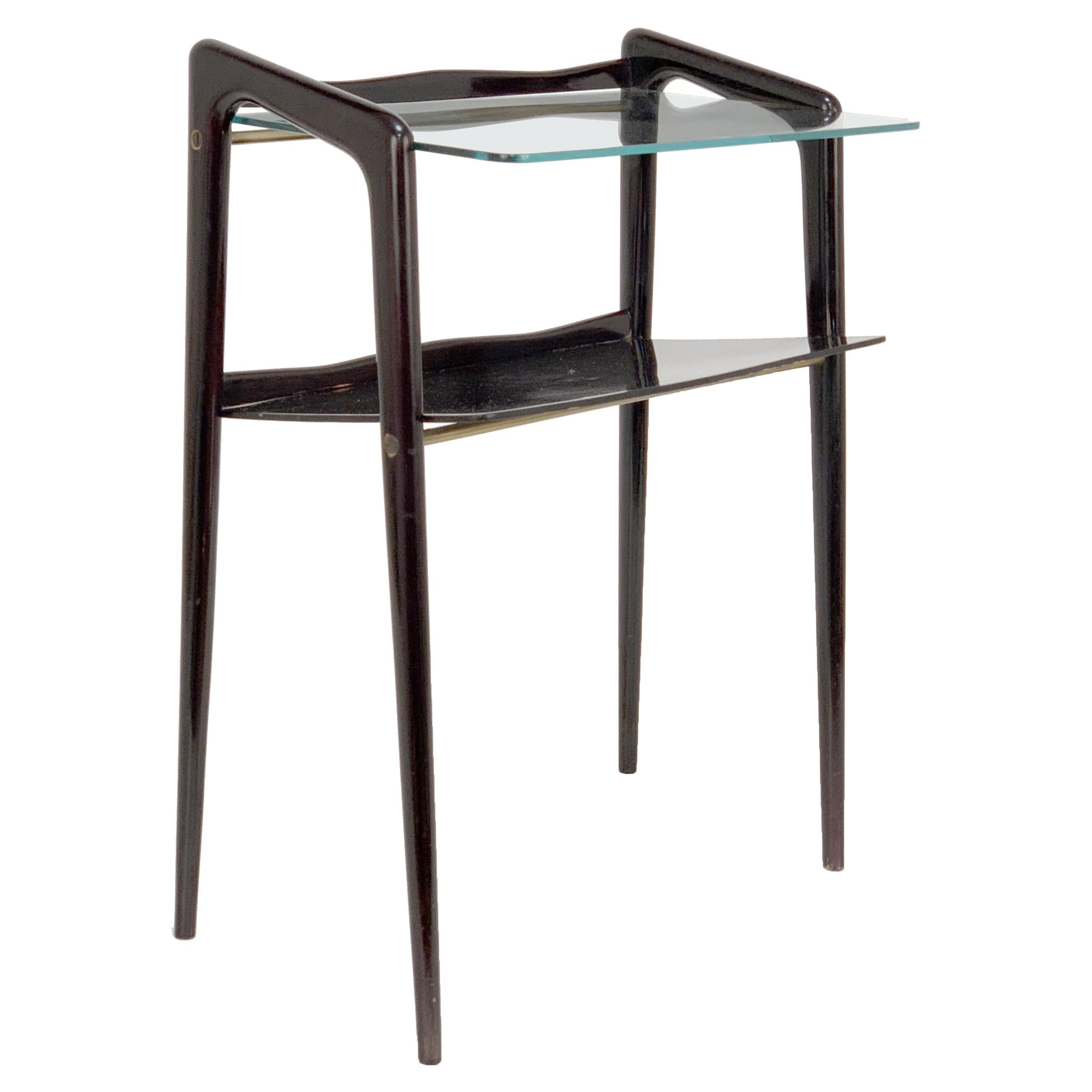 Ico Parisi Midcentury Ebonized Wood and Glass Italian Magazine Table, 1940s