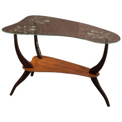 Ico Parisi Midcentury Kidney Shaped Brown and Glass Italian Coffee Table, 1950