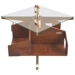 Ico Parisi Midcentury Rosewood Italian Coffee Table with Rotating Shelves, 1950s