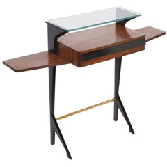 Ico Parisi Midcentury Wood, Brass and Glass Italian Console Table, 1950s