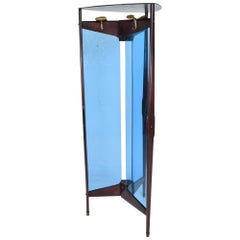 Ico Parisi Modern Triangle Cool Blue Coat Rack Free Standing Room Divider, 1940s