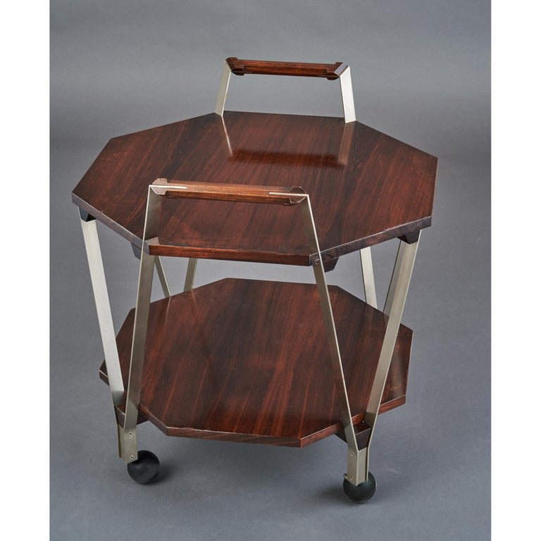 Mid-Century Modern Ico Parisi Octagonal Rolling Cart, Italy, 1959 For Sale
